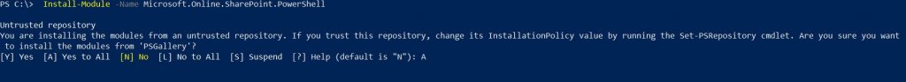 PowerShell Command showing Install Cmdlets for SharePoint Online