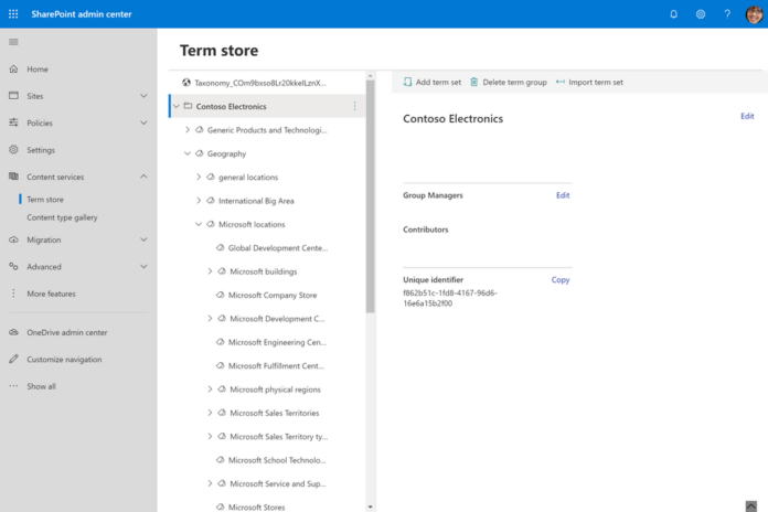 Modern taxonomy management in new SharePoint admin center