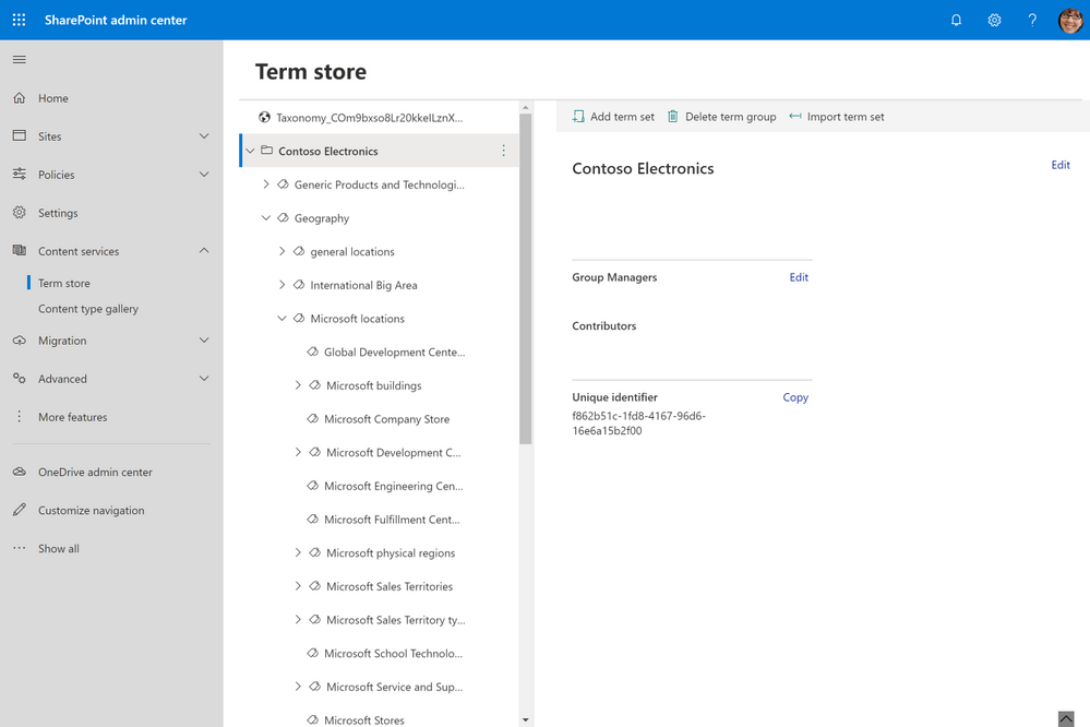 Managing taxonomies in new sharepoint admin center