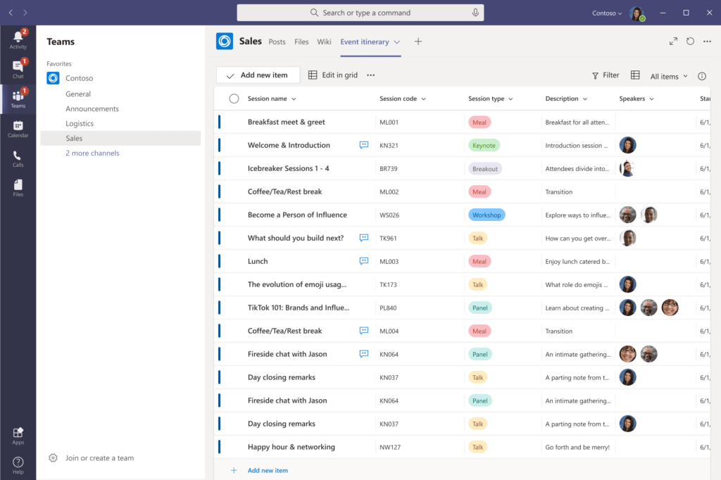 Use Microsoft Teams to collaborate on lists – content and conversation side-by-side in one integrated experience.