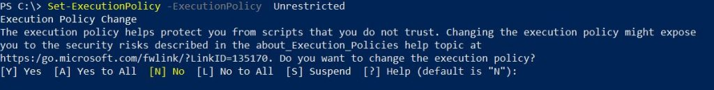 PowerShell command showing Set-ExecutionPolicy
